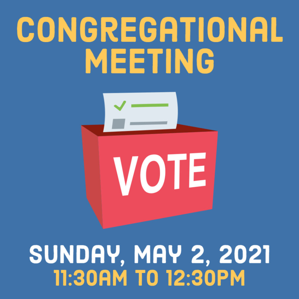 Congregational Meeting, Sunday May 2, 11:30am - 12:30pm
